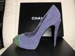 12e746a61 CHANEL 11A Glitter Leather Cap Toe Two Tone Platform Pumps Shoes ...