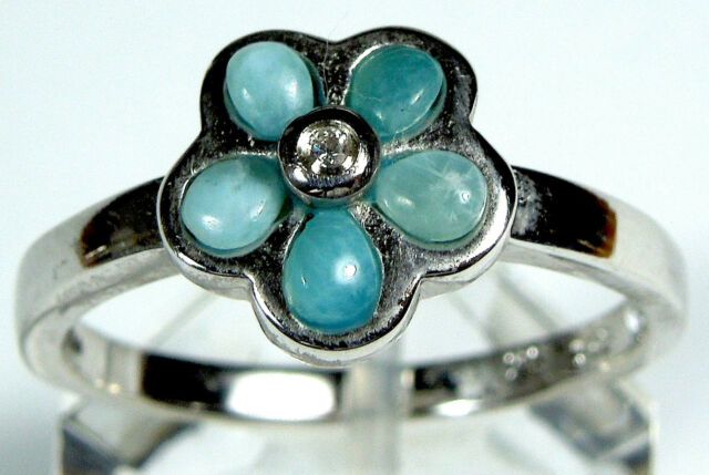 Natural AAA Larimar Inlay 925 Sterling Silver Plumeria Flower Ring Size 6 or 9