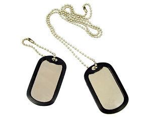 100 Shinny Military GI Dog Tags Rolled edge  Black silencers ball chains Shiny