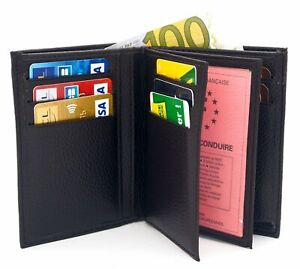 Portefeuille-noir-cuir-synthetique-Porte-cartes-permis-Homme