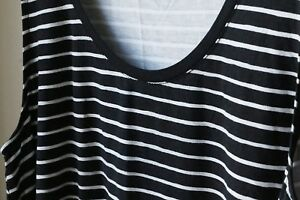 acdb6042c1 A New Day Womens Loose Tank Top Stretch Rayon Black White Striped ...
