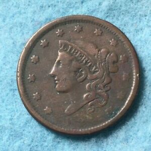 1837 Coronet Head Large Cent VG Very Good Copper Penny 1c