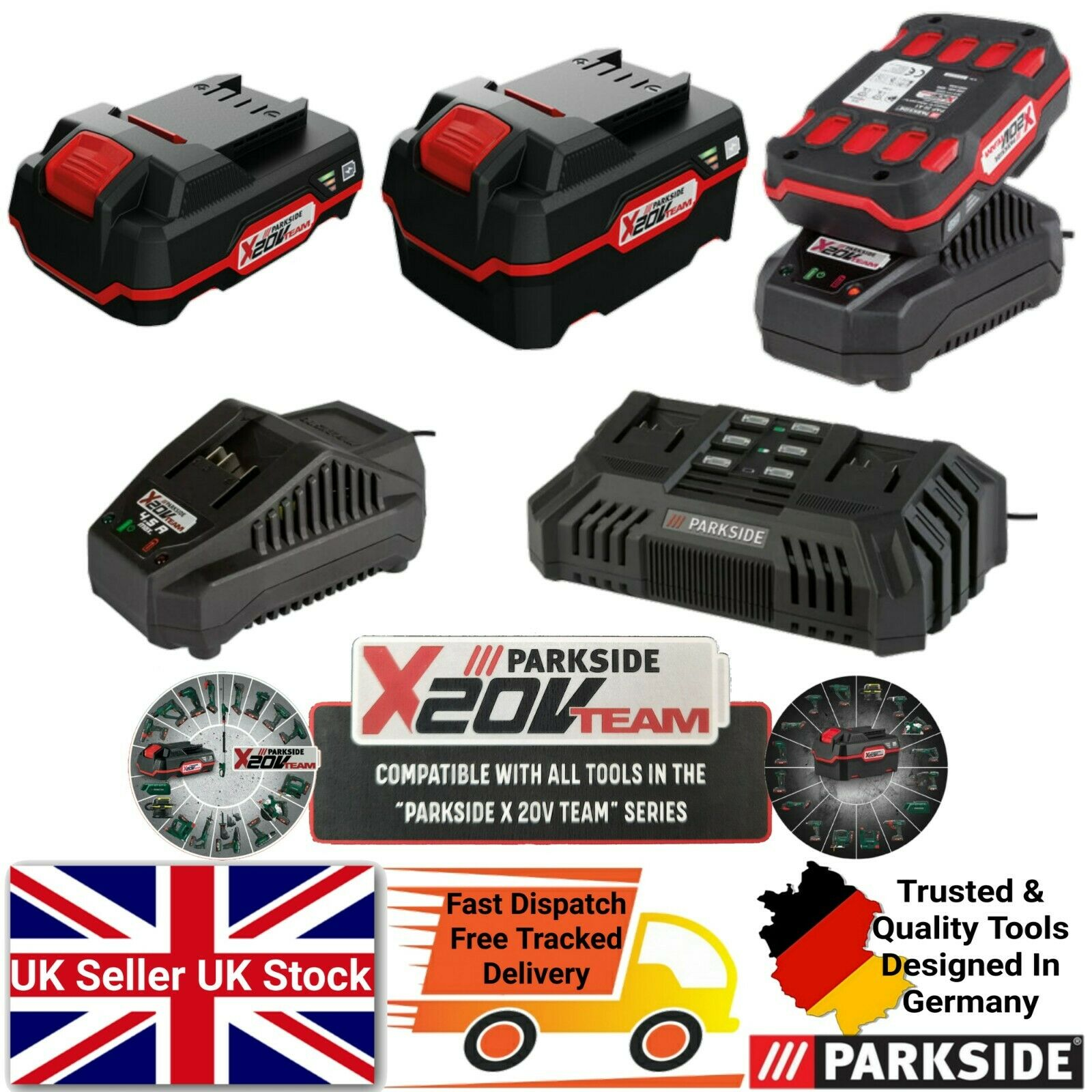 Parkside 20V 2Ah 4Ah Battery / Charger Fit All X20V Team Series Cordless Tool