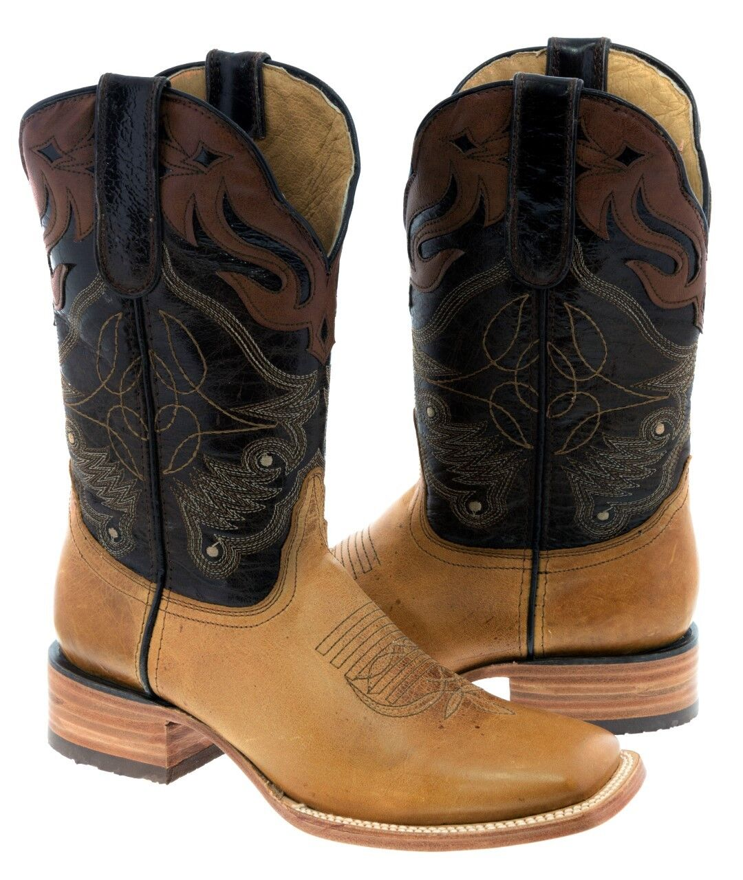 Mens Honey Cognac Real Leather Cowboy Stiefel Overlay Stitched Riding Square Toe