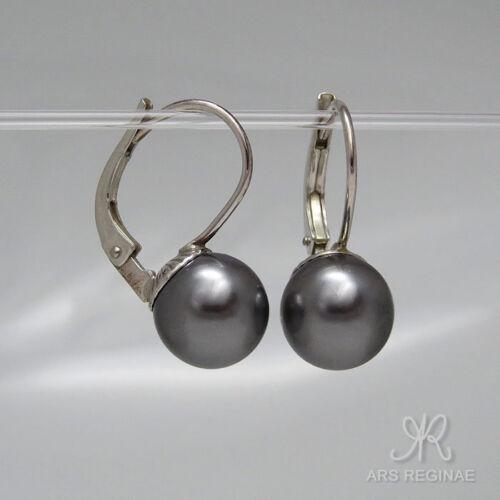 TAHITI OPTIK ● 8mm ● SC Perlen Ohrringe grau rund Sterling Silber 925 rhod.