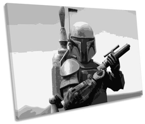 Star Wars Boba Fett Bounty Hunter B/&W SINGLE CANVAS WALL ART Print Picture