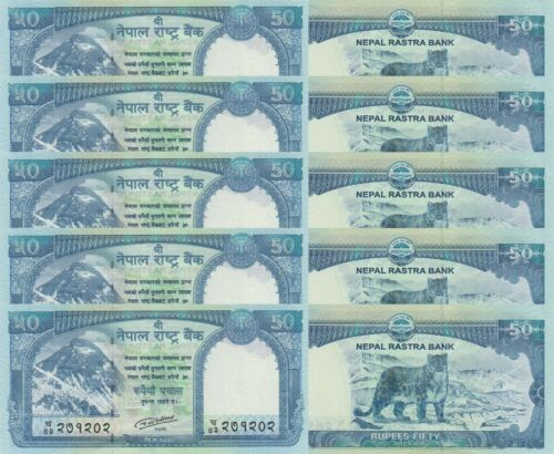 2015 Nepal 50 Rupees LOT p79 x 5 PCS UNC
