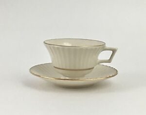 LENOX-Fine-China-CITATION-GOLD-Porcelain-Footed-Tea-Cup-Saucer-Set-Dinnerware