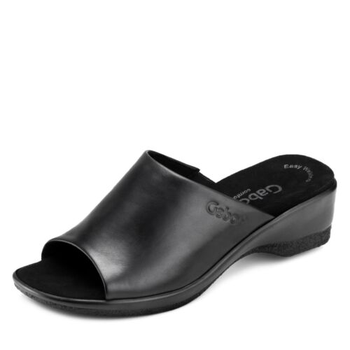 Gabor Comfort  Damen Pantolette Schlupfschuhe Hausschuhe Leder Schuhe schwarz