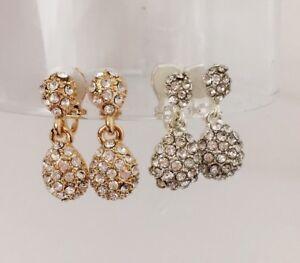 Crystal-Teardrop-Clip-on-Earrings-Womens-Girls-Dangle-Drop-Gatsby-Silver-or-Gold