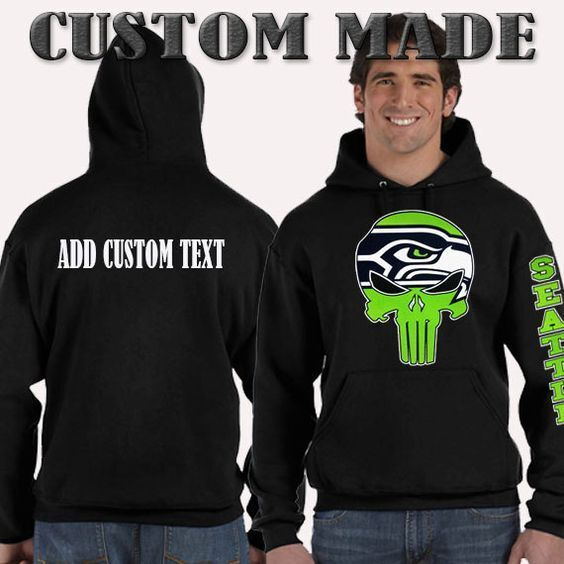 Seattle Seahawks Punisher Pullover Hooded Hoodie Sweatshirt S - 5XL