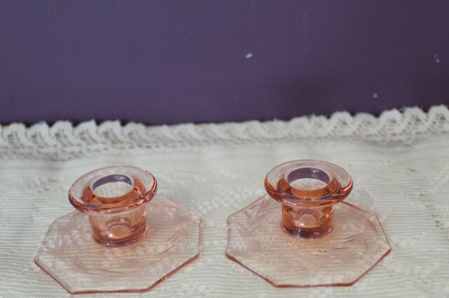 VINTAGE PAIR OF PINK DEPRESSION GLASS CANDLE HOLDERS WITH ETCHED BASE