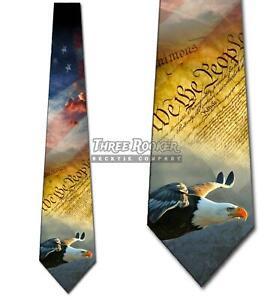 Patriotic-Symbols-Neckties-Mens-American-Constitution-Tie-Memorial-Day-Ties-NWT