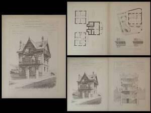 100% De Qualité Villa A Puy-varin - Gravures Architecture 1890 - Jules Cellier