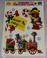 Christmas Window Cling Decorations 10pc Set W/six Re-usable Designs
