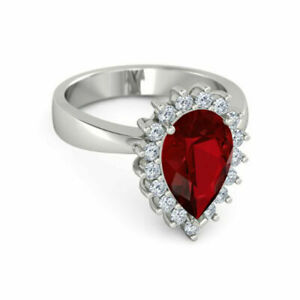 Genuine Diamond Ruby Gemstone Ring Pear Cut 3.50 Ct 14K White Gold Size M N O P
