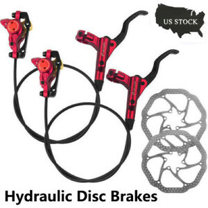 Hydraulic Disc Brakes Lever Calipers Rotors 160mm MTB XC Bike Front Rear set BK