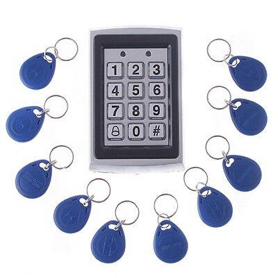 125KHz RFID Card Door Entry Access Control Keypad Password Keypad+10 ID Keyfobs