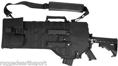 NEW! Deluxe MOLLE Shoulder Sling Tactical 556 223 762 Rifle Scabbard Case BLACK