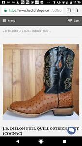 Cognac J 6 bDillion Qiill Boots Mens New 5d Full Ostrich QhrdxtsC