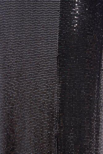 BNWT Quiz Towie Noir//Argent Sequin SPLIT Maxi Jupe superbe 6 8 10 12 14 16