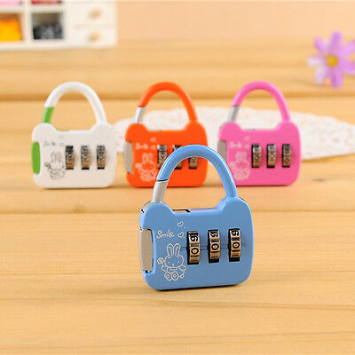 Security Cable Mini 3 Digit Combination Padlock Suitcase Travel Luggage Lock WFE