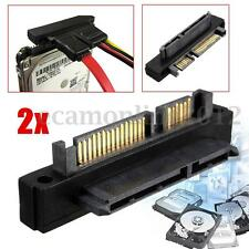 2PCS SATA 7+15 Pin Male To 22Pin Female Adapter Right Angle For HDD Hard Disk