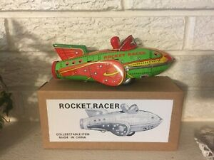 ROCKET-RACER-SCI-FI-TIN-Litho-TOY-CLASSIC-Friction-Motor-w-sonic-blasts