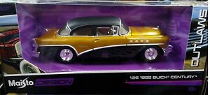 1955-Buick-Century-Coupe-Diecast-Car-1-26-Maisto-Design-Outlaws-8-inch-Gold-1-24