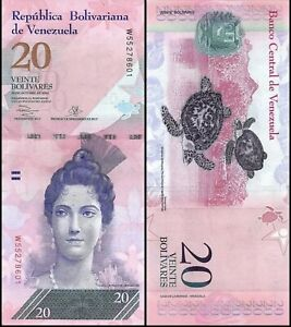 VENEZUELA-20-Bolivares-2007-2017-P-91-UNC-World-Currency