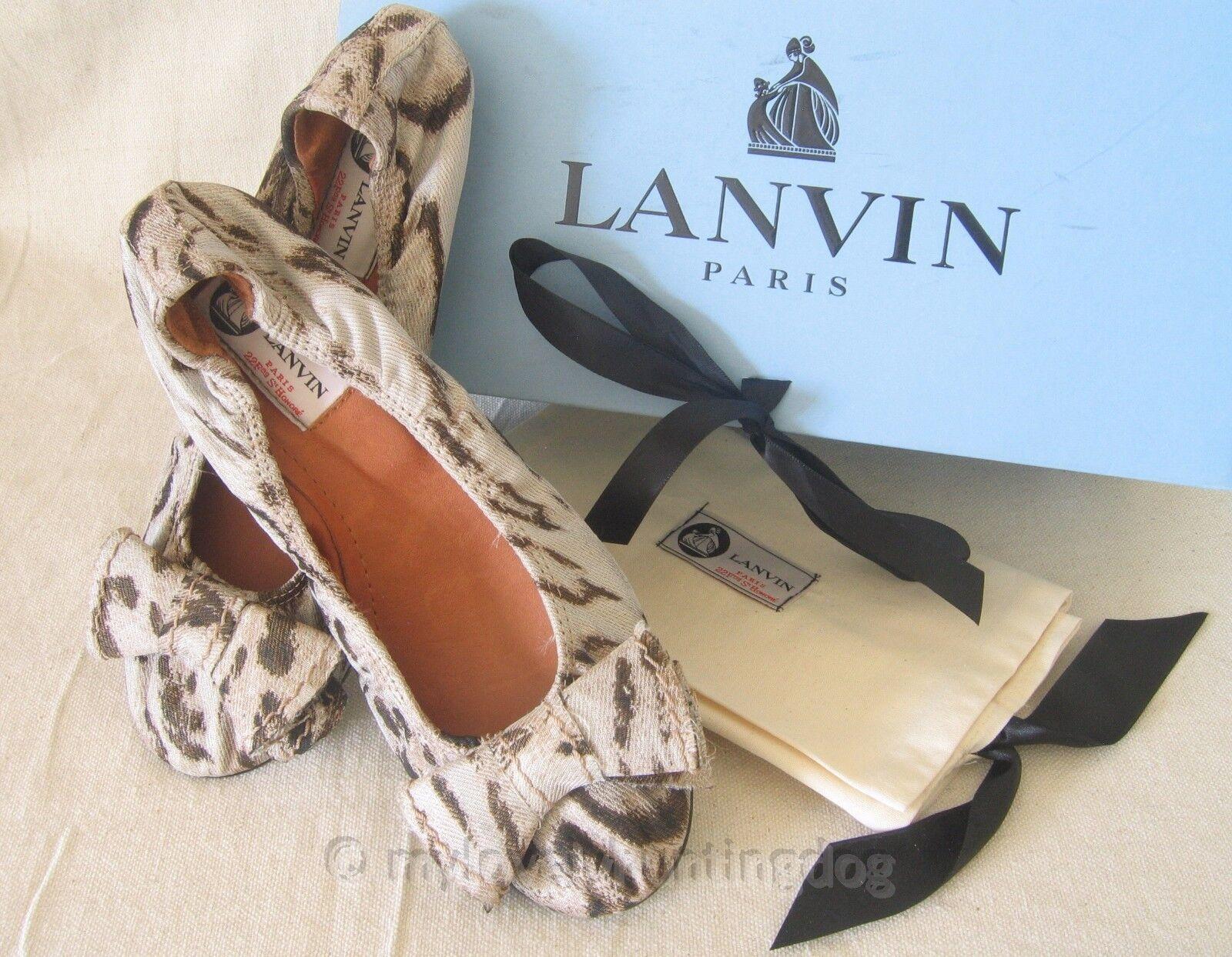 NIB Auth Lanvin Womens Silk Bow Noeud Imprime Ballet Flats Sz 37 6 Beige Brown