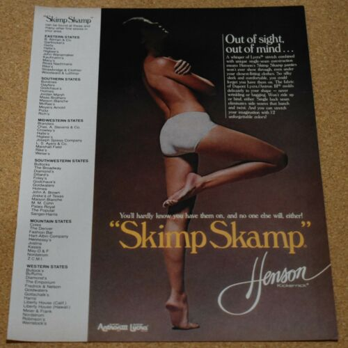 1981 Print Ad Skimp Skamp lycra panties silky sleek lady mold sleek style sight