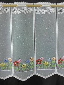 m/€ 15,18 Scheibengardine Bistrogardine Gardine 50 cm hoch Blumen