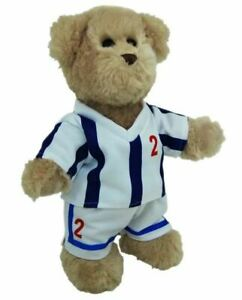 TIC-TOC-TEDDY-BEAR-DRESSED-FOR-SOCCER-30CM-BLUE-AND-WHITE-STRIPED-OUTFIT-NO-2