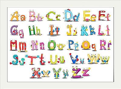 per imparare l/'alfabeto colore: bianco Learn The Alphabet Poster educativo con stampa artistica per bambini
