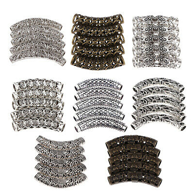 5 Piece Dreadlocks Braid Hair Tubes Beads Braiding Jewelry Decor Accessories