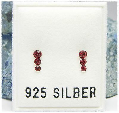 Iniziativa Nuovo Argento 925 Orecchini A Bottone 3mm Swarovski Pietre Light Siam/rosso Orecchini-mostra Il Titolo Originale