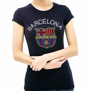 Barcelona handmade rhinestone t shirts for women in black soccer sports clothing ebay - Forlady barcelona ...