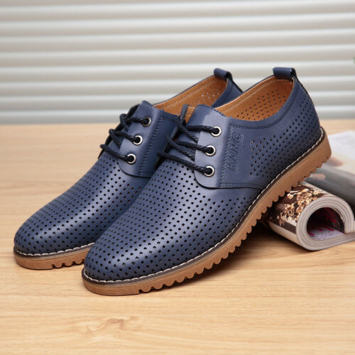 Mens summer hollow Breathable Business dress formal lace up casual sandal shoes