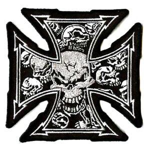 Outlaw Hog Biker Embroidered Maltese 13 Skull Iron Cross Iron On
