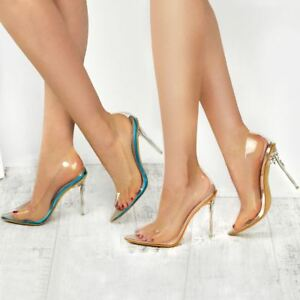 7eede718412 Details about Womens Ladies Clear Perspex See Through High Heel Party  Sandals Court Shoes