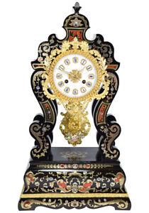 PENDULE-MARQUETERIE-Kaminuhr-Empire-clock-bronze-horloge-antique-cartel-portique