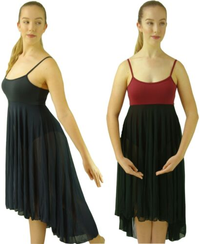 Navy-Blue Black-Burgundy Modern Lyrical Dance Costume Hi Lo Dress 6 8 10 12 14