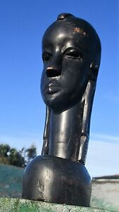 Old-African-Head-Hand-Made-Carved-Dark-Wood-Authentic-Tribal-African-Art