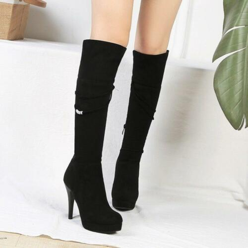 fashion Womens side zip Faux Suede Stilettos Heels casual Knee High Boots