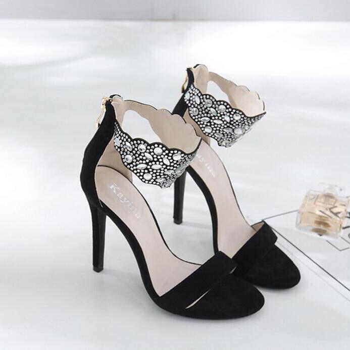 Sandali stiletto 12 cm eleganti noir lucido strass tacco pelle sintetica 1573
