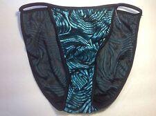 Women Panties,string Bikinis 2-Sizes Small/Medium Green Velvet&Black Net Striped