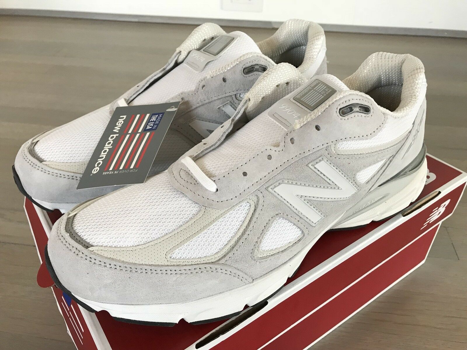 New Balance 990 White Suede and  Nylon shoes Size US 14, Made in USA