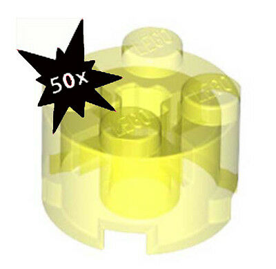 Genuine Lego  2x2 Round Bricks TRANSPARENT NEON GREEN Lot of 50 # 3941
