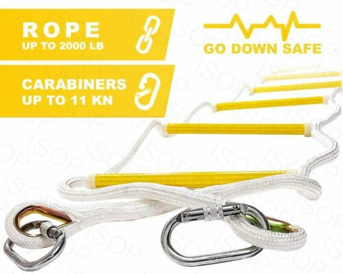 Emergency Fire Escape Rope Ladder for Homes up to 2-5 Floor with Carabiners